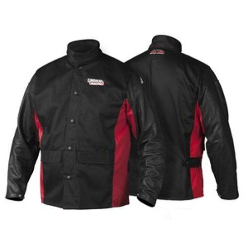 Shadow grain leather sleeved jacket
