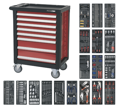 Complete Tools Set Rollcab 8 Drawer 707 piece